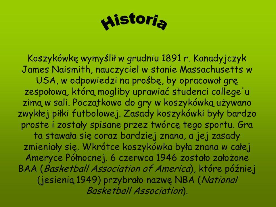 Koszykówkę wymyślił w grudniu 1891 r. Kanadyjczyk James Naismith, nauczyciel w stanie Massachusetts w USA, w odpowiedzi na prośbę, by opracował grę ze