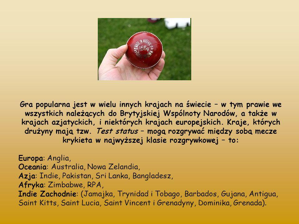 Podstawowy sprzęt to wyposażenie zawodników: piłka wykonana z korka pokrytego białą lub czerwoną skórą, mająca obwód około 23 cm kij z drewna wierzbowego z długą rękojeścią i płaską powierzchnią do odbijania, o maksymalnej długości 96,5 cm oraz szerokości do 10,8 cm.