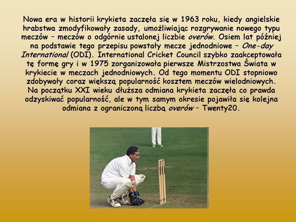 Nowa era w historii krykieta zaczęła się w 1963 roku, kiedy angielskie hrabstwa zmodyfikowały zasady, umożliwiając rozgrywanie nowego typu meczów – meczów o odgórnie ustalonej liczbie overów.