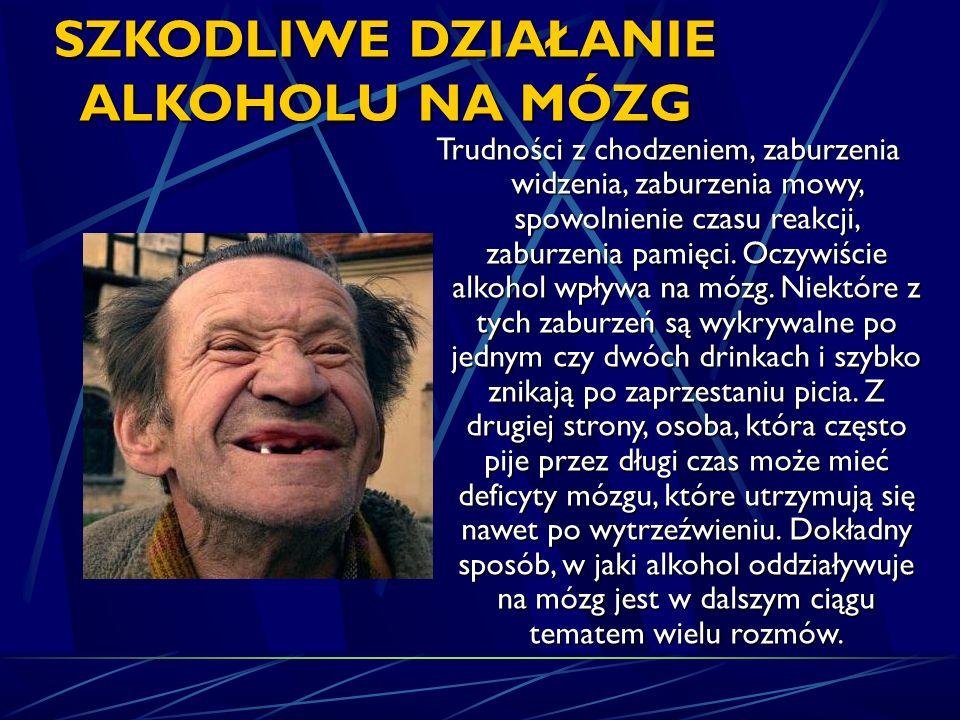 SZKODLIWE DZIAŁANIE ALKOHOLU NA MÓZG Trudności z chodzeniem, zaburzenia widzenia, zaburzenia mowy, spowolnienie czasu reakcji, zaburzenia pamięci. Ocz