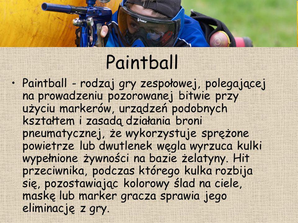 Paintball Paintball - rodzaj gry zespołowej, polegającej na prowadzeniu pozorowanej bitwie przy użyciu markerów, urządzeń podobnych kształtem i zasadą