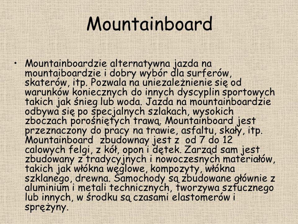 Mountainboard Mountainboardzie alternatywna jazda na mountaiboardzie i dobry wybór dla surferów, skaterów, itp. Pozwala na uniezależnienie się od waru