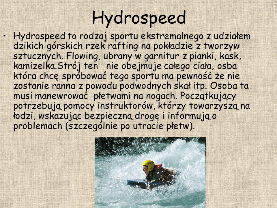Hydrospeed Hydrospeed to rodzaj sportu ekstremalnego z udziałem dzikich górskich rzek rafting na pokładzie z tworzyw sztucznych. Flowing, ubrany w gar