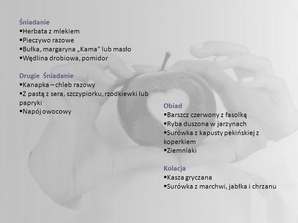 Śniadanie Herbata z mlekiem Pieczywo razowe Bułka, margaryna Kama lub masło Wędlina drobiowa, pomidor Drugie Śniadanie Kanapka – chleb razowy Z pastą z sera, szczypiorku, rzodkiewki lub papryki Napój owocowy Obiad Barszcz czerwony z fasolką Ryba duszona w jarzynach Surówka z kapusty pekińskiej z koperkiem Ziemniaki Kolacja Kasza gryczana Surówka z marchwi, jabłka i chrzanu