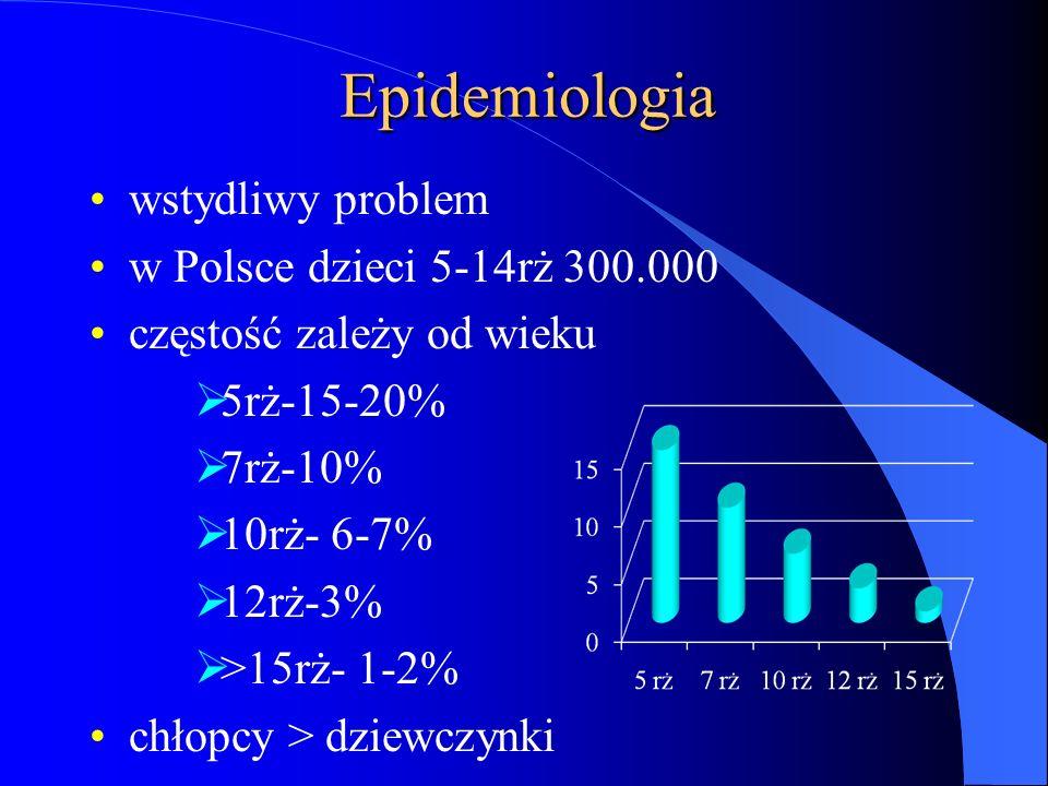 Epidemiologia wstydliwy problem w Polsce dzieci 5-14rż 300.000 częstość zależy od wieku 5rż-15-20% 7rż-10% 10rż- 6-7% 12rż-3% >15rż- 1-2% chłopcy > dz