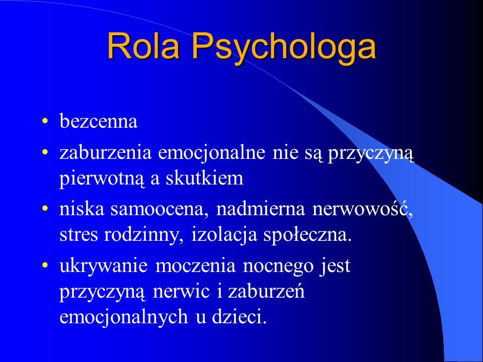 Rola Psychologa bezcenna zaburzenia emocjonalne nie są przyczyną pierwotną a skutkiem niska samoocena, nadmierna nerwowość, stres rodzinny, izolacja s