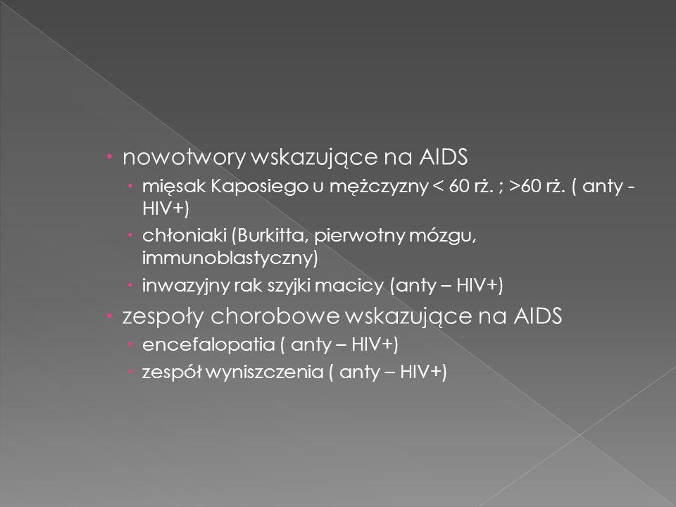 nowotwory wskazujące na AIDS mięsak Kaposiego u mężczyzny 60 rż.
