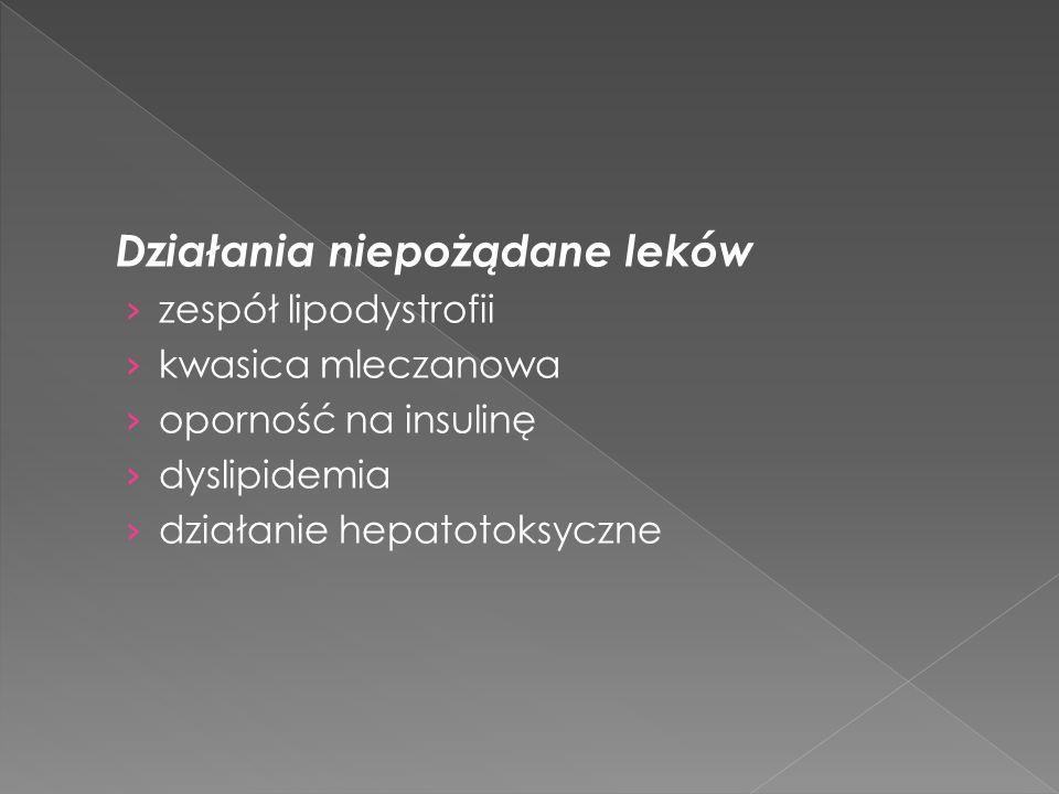 Działania niepożądane leków zespół lipodystrofii kwasica mleczanowa oporność na insulinę dyslipidemia działanie hepatotoksyczne