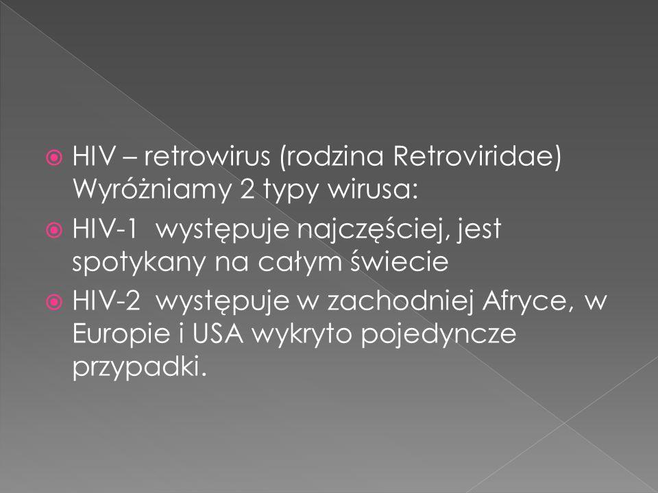 HIV – retrowirus (rodzina Retroviridae) Wyróżniamy 2 typy wirusa: HIV-1 występuje najczęściej, jest spotykany na całym świecie HIV-2 występuje w zachodniej Afryce, w Europie i USA wykryto pojedyncze przypadki.
