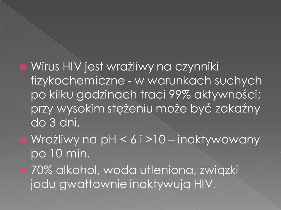 Wirus HIV jest wrażliwy na czynniki fizykochemiczne - w warunkach suchych po kilku godzinach traci 99% aktywności; przy wysokim stężeniu może być zakaźny do 3 dni.