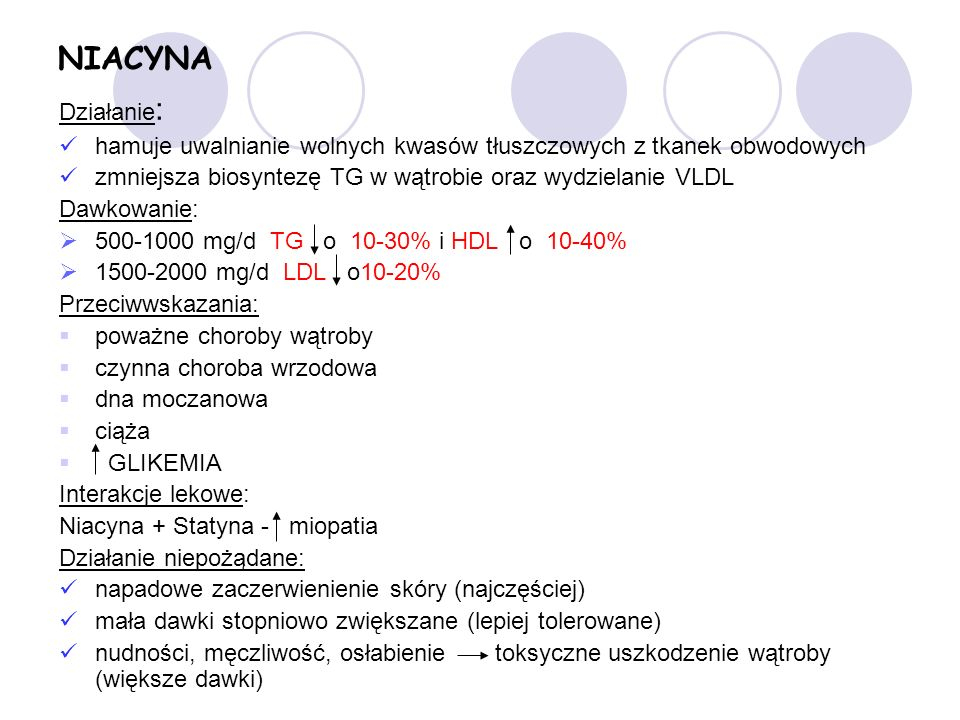 NIACYNA Działanie : hamuje uwalnianie wolnych kwasów tłuszczowych z tkanek obwodowych zmniejsza biosyntezę TG w wątrobie oraz wydzielanie VLDL Dawkowanie: 500-1000 mg/d TG o 10-30% i HDL o 10-40% 1500-2000 mg/d LDL o10-20% Przeciwwskazania: poważne choroby wątroby czynna choroba wrzodowa dna moczanowa ciąża GLIKEMIA Interakcje lekowe: Niacyna + Statyna - miopatia Działanie niepożądane: napadowe zaczerwienienie skóry (najczęściej) mała dawki stopniowo zwiększane (lepiej tolerowane) nudności, męczliwość, osłabienie toksyczne uszkodzenie wątroby (większe dawki)