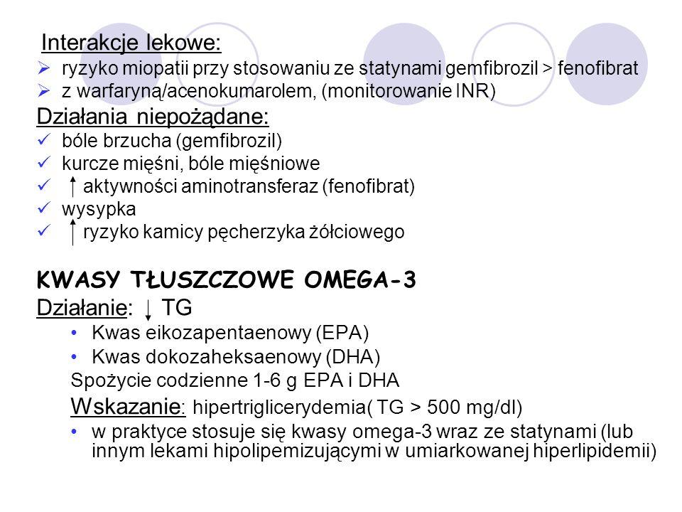 Interakcje lekowe: ryzyko miopatii przy stosowaniu ze statynami gemfibrozil > fenofibrat z warfaryną/acenokumarolem, (monitorowanie INR) Działania niepożądane: bóle brzucha (gemfibrozil) kurcze mięśni, bóle mięśniowe aktywności aminotransferaz (fenofibrat) wysypka ryzyko kamicy pęcherzyka żółciowego KWASY TŁUSZCZOWE OMEGA-3 Działanie: TG Kwas eikozapentaenowy (EPA) Kwas dokozaheksaenowy (DHA) Spożycie codzienne 1-6 g EPA i DHA Wskazanie : hipertriglicerydemia( TG > 500 mg/dl) w praktyce stosuje się kwasy omega-3 wraz ze statynami (lub innym lekami hipolipemizującymi w umiarkowanej hiperlipidemii)