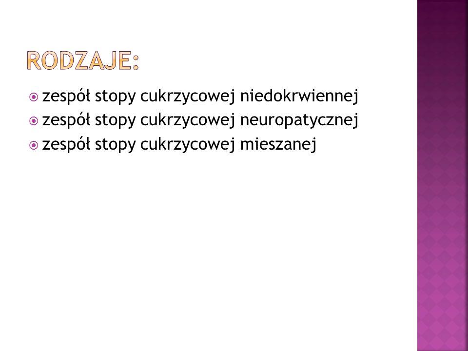 zespół stopy cukrzycowej niedokrwiennej zespół stopy cukrzycowej neuropatycznej zespół stopy cukrzycowej mieszanej