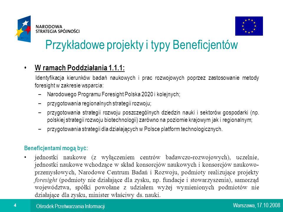 Ośrodek Przetwarzania Informacji 4 Przykładowe projekty i typy Beneficjentów W ramach Poddziałania 1.1.1: Identyfikacja kierunków badań naukowych i prac rozwojowych poprzez zastosowanie metody foresight w zakresie wsparcia: –Narodowego Programu Foresight Polska 2020 i kolejnych; –przygotowania regionalnych strategii rozwoju; –przygotowania strategii rozwoju poszczególnych dziedzin nauki i sektorów gospodarki (np.