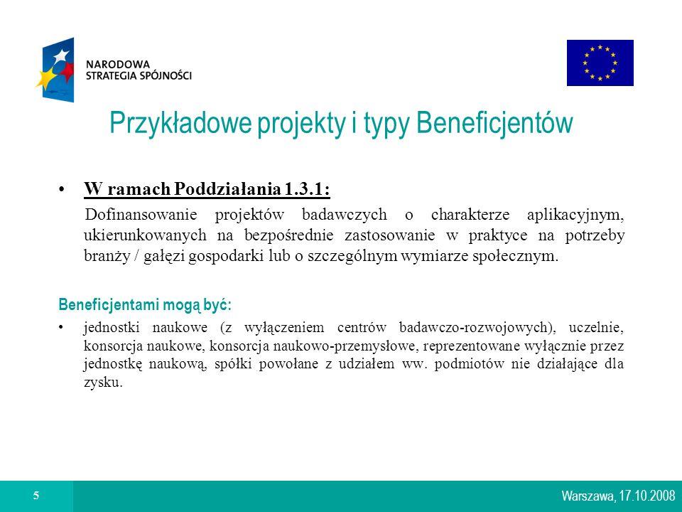 5 Przykładowe projekty i typy Beneficjentów W ramach Poddziałania 1.3.1: Dofinansowanie projektów badawczych o charakterze aplikacyjnym, ukierunkowanych na bezpośrednie zastosowanie w praktyce na potrzeby branży / gałęzi gospodarki lub o szczególnym wymiarze społecznym.