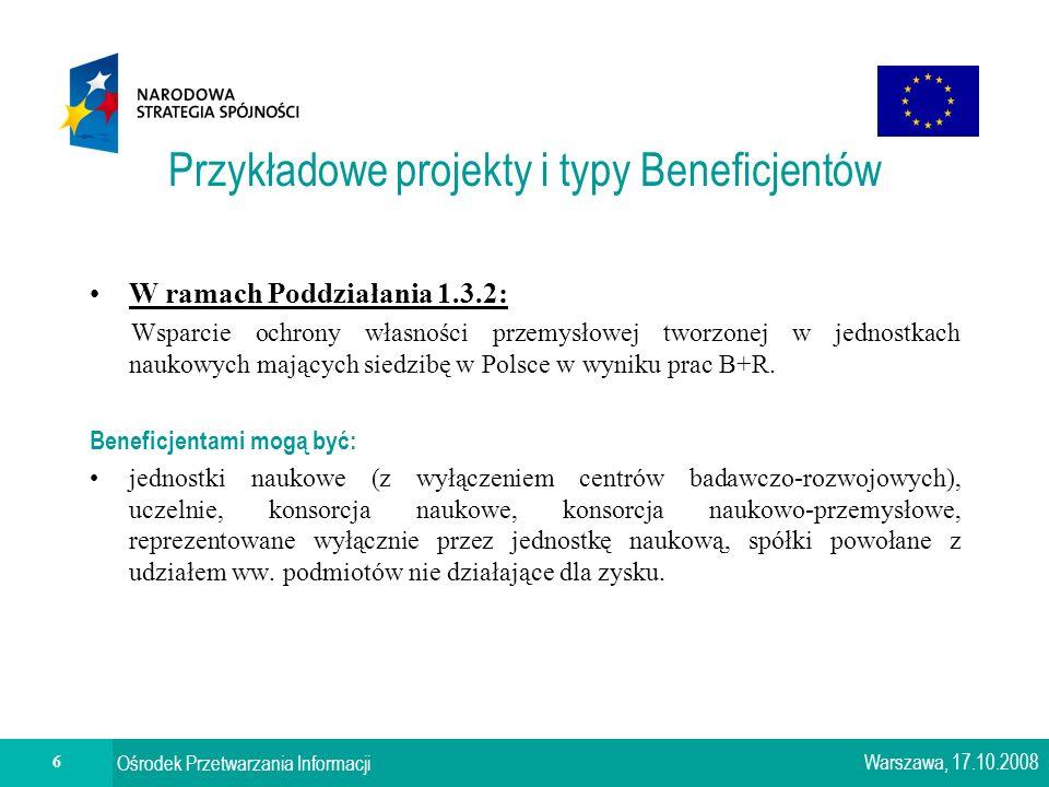 6 Ośrodek Przetwarzania Informacji Przykładowe projekty i typy Beneficjentów W ramach Poddziałania 1.3.2: Wsparcie ochrony własności przemysłowej tworzonej w jednostkach naukowych mających siedzibę w Polsce w wyniku prac B+R.