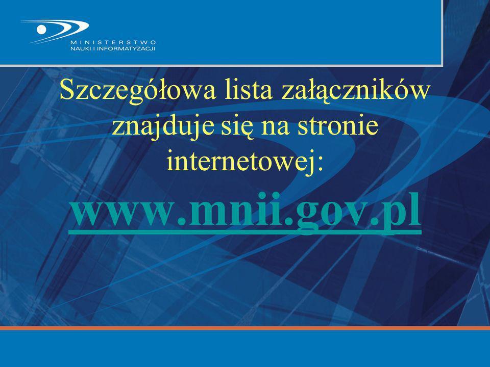 Szczegółowa lista załączników znajduje się na stronie internetowej: www.mnii.gov.pl www.mnii.gov.pl