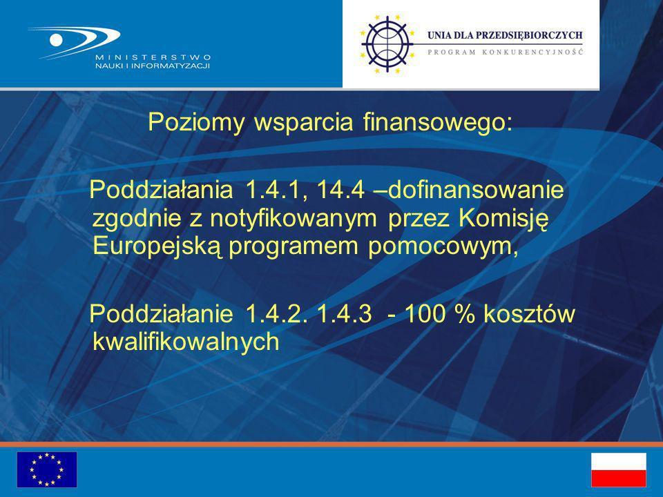 Poziomy wsparcia finansowego: Poddziałania 1.4.1, 14.4 –dofinansowanie zgodnie z notyfikowanym przez Komisję Europejską programem pomocowym, Poddziałanie 1.4.2.