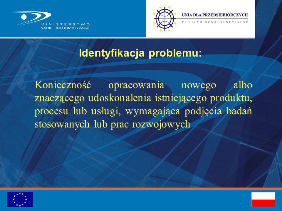 Identyfikacja problemu: Konieczność opracowania nowego albo znaczącego udoskonalenia istniejącego produktu, procesu lub usługi, wymagająca podjęcia badań stosowanych lub prac rozwojowych