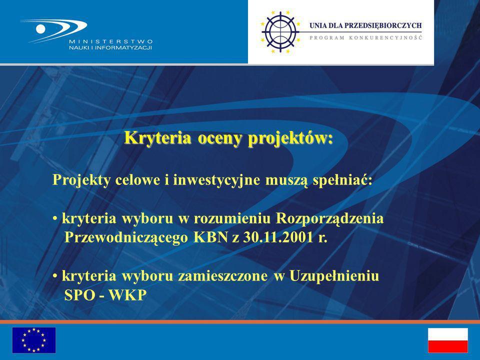 Kryteria oceny projektów: Projekty celowe i inwestycyjne muszą spełniać: kryteria wyboru w rozumieniu Rozporządzenia Przewodniczącego KBN z 30.11.2001 r.
