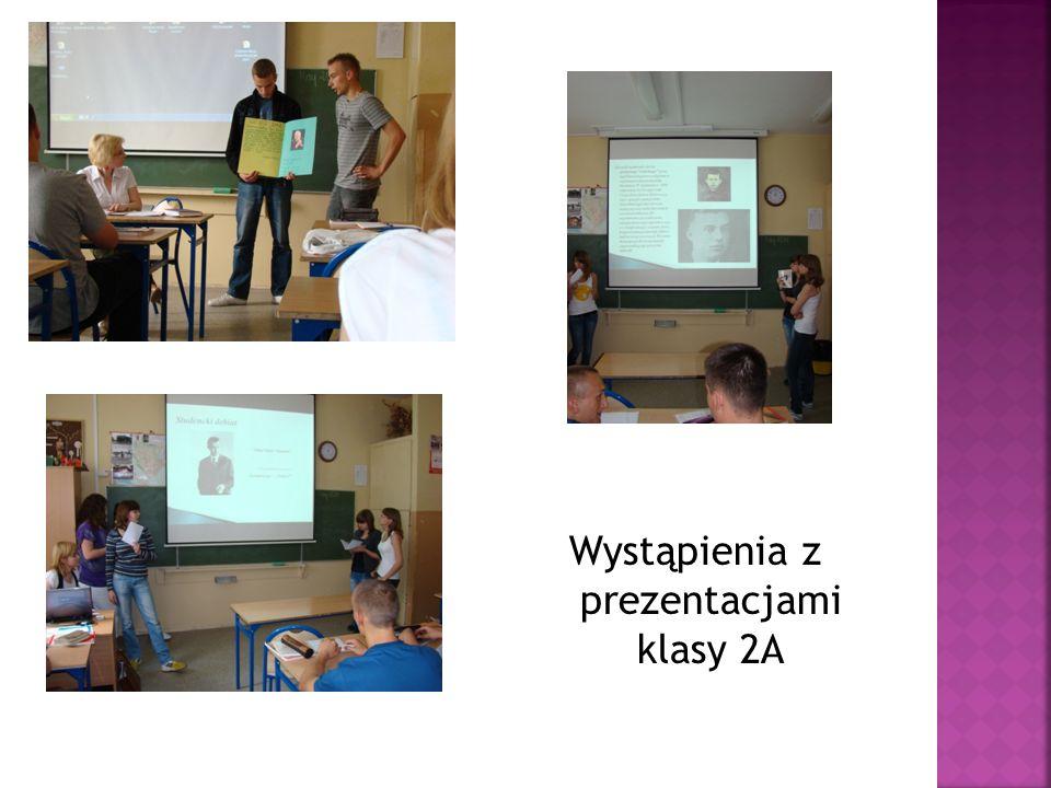 Wystąpienia z prezentacjami klasy 2A