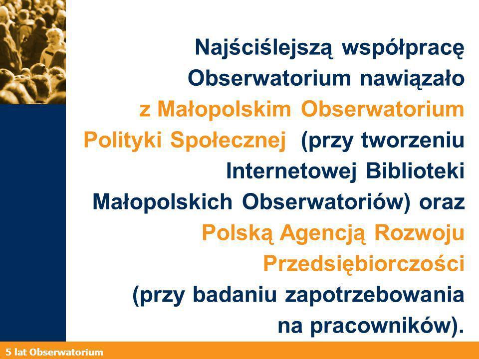 5 lat Obserwatorium Najściślejszą współpracę Obserwatorium nawiązało z Małopolskim Obserwatorium Polityki Społecznej (przy tworzeniu Internetowej Biblioteki Małopolskich Obserwatoriów) oraz Polską Agencją Rozwoju Przedsiębiorczości (przy badaniu zapotrzebowania na pracowników).