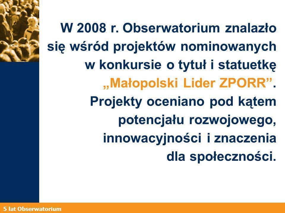 5 lat Obserwatorium W 2008 r.