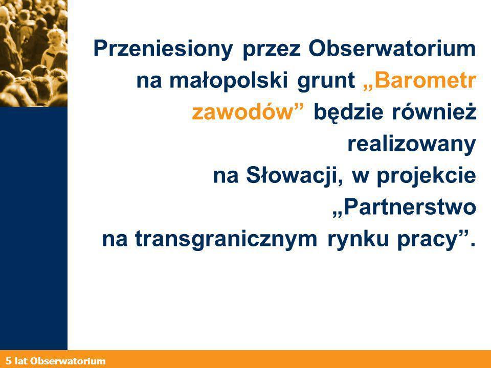 5 lat Obserwatorium Doświadczenia Obserwatorium wykorzystane zostały przy tworzeniu Małopolskich Obserwatoriów Rozwoju Regionalnego: Obserwatorium Gospodarki, Obserwatorium Polityki Społecznej oraz Obserwatorium Polityki Rozwoju.