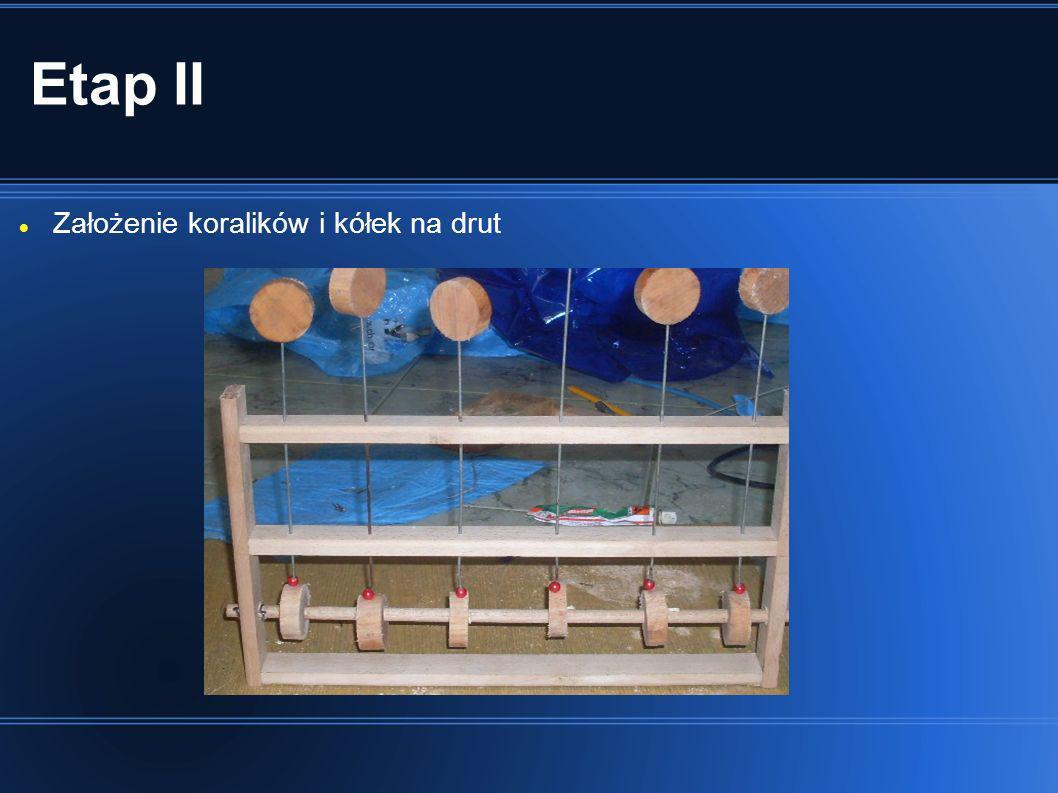 Etap II Założenie koralików i kółek na drut