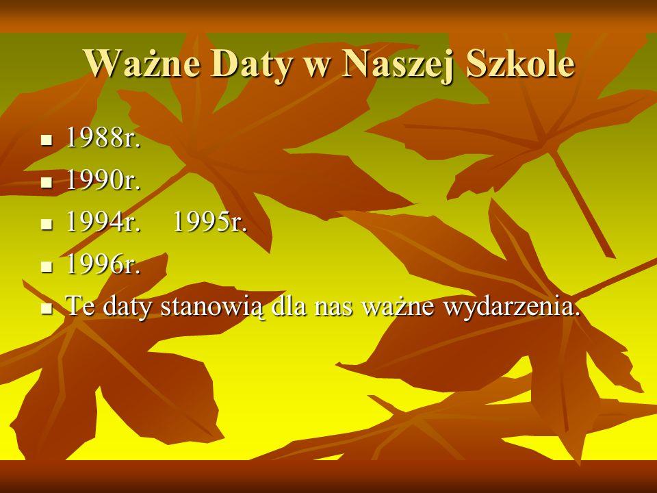 Ważne Daty w Naszej Szkole 1988r.1988r. 1990r. 1990r.