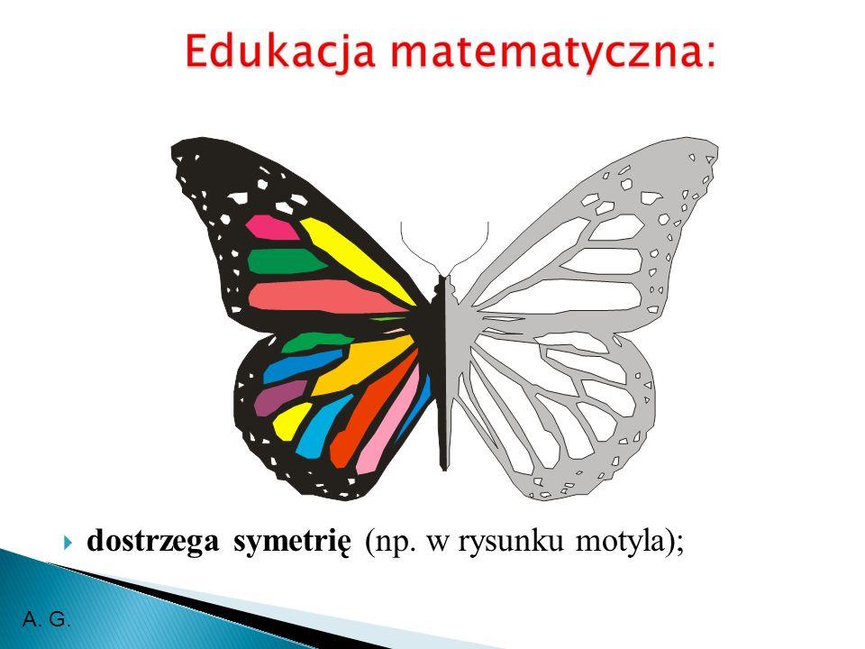 dostrzega symetrię (np. w rysunku motyla); A. G.