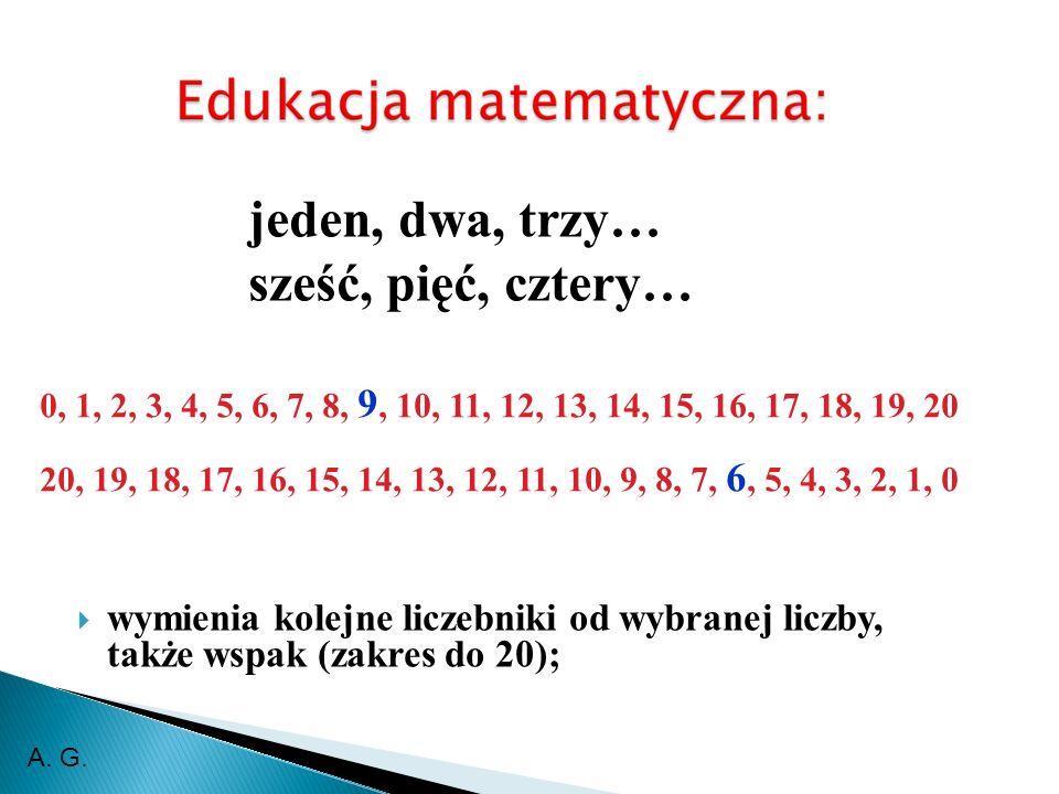 wymienia kolejne liczebniki od wybranej liczby, także wspak (zakres do 20); 0, 1, 2, 3, 4, 5, 6, 7, 8, 9, 10, 11, 12, 13, 14, 15, 16, 17, 18, 19, 20 20, 19, 18, 17, 16, 15, 14, 13, 12, 11, 10, 9, 8, 7, 6, 5, 4, 3, 2, 1, 0 jeden, dwa, trzy… sześć, pięć, cztery… A.
