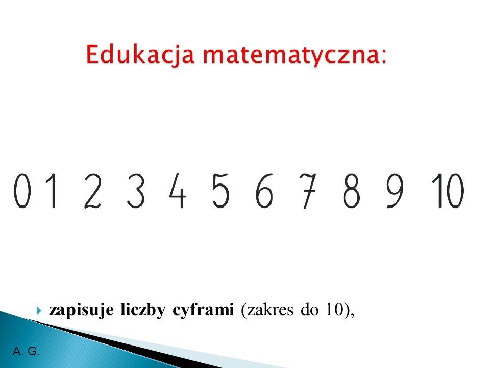 zapisuje liczby cyframi (zakres do 10), A. G.