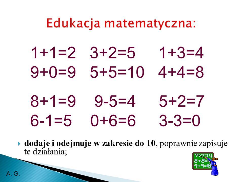 dodaje i odejmuje w zakresie do 10, poprawnie zapisuje te działania; 1+1=2 3+2=5 1+3=4 9+0=9 5+5=10 4+4=8 8+1=9 9-5=4 5+2=7 6-1=5 0+6=6 3-3=0 A. G.