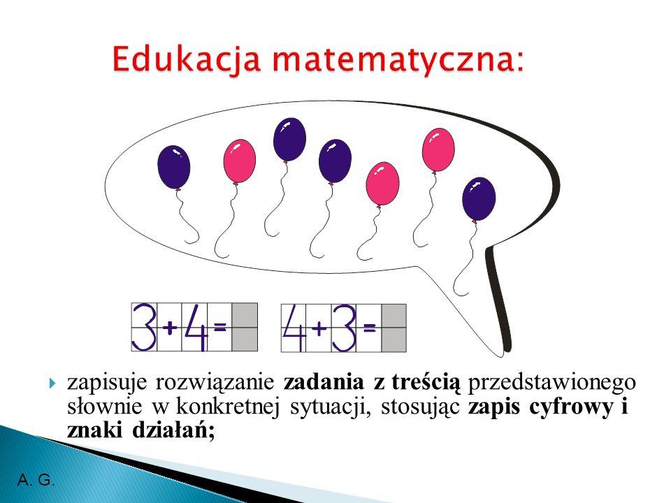 zapisuje rozwiązanie zadania z treścią przedstawionego słownie w konkretnej sytuacji, stosując zapis cyfrowy i znaki działań; A.