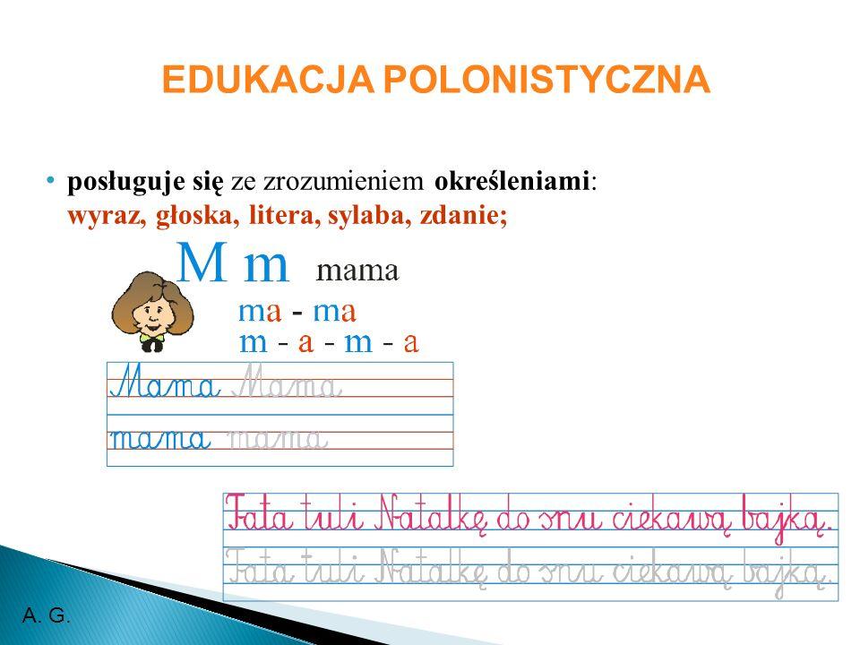 EDUKACJA POLONISTYCZNA posługuje się ze zrozumieniem określeniami: wyraz, głoska, litera, sylaba, zdanie; A.