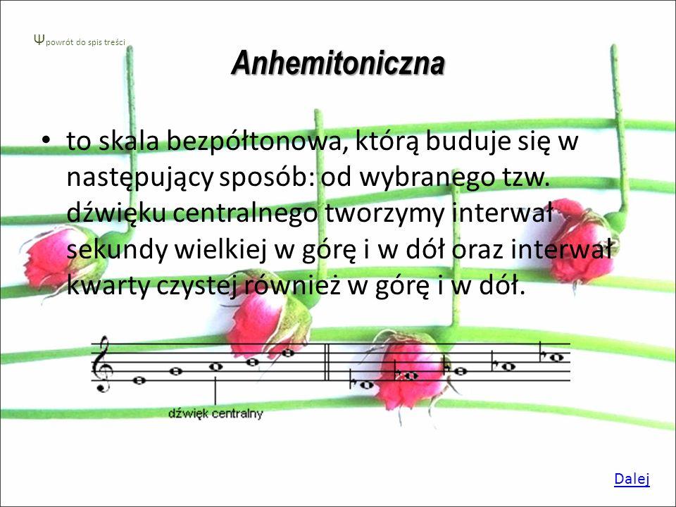 Skala pentatoniczna Skala pentatoniczna- jest to skala pięciostopniowa. Wykorzystywana była w starożytności m. in. w muzyce chińskiej i afrykańskiej.