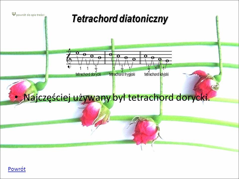Tetrachord diatoniczny Najczęściej używany był tetrachord dorycki. Powrót Ψ powrót do spis treści
