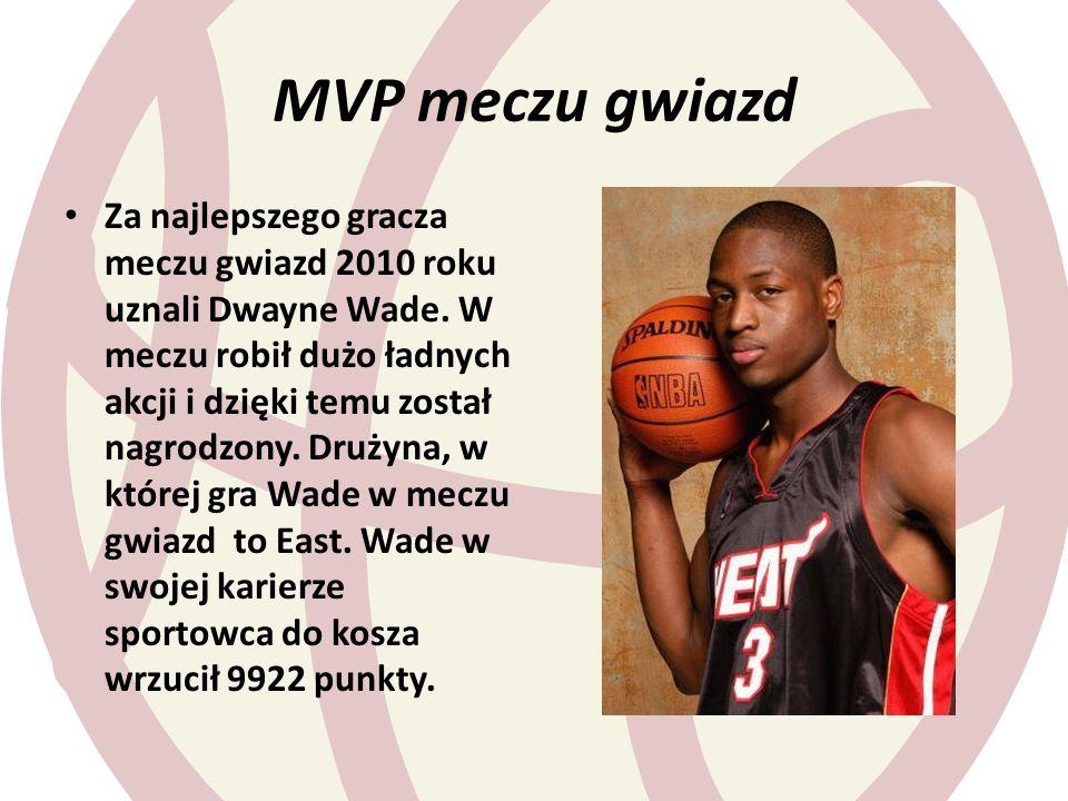 MVP meczu gwiazd Za najlepszego gracza meczu gwiazd 2010 roku uznali Dwayne Wade. W meczu robił dużo ładnych akcji i dzięki temu został nagrodzony. Dr