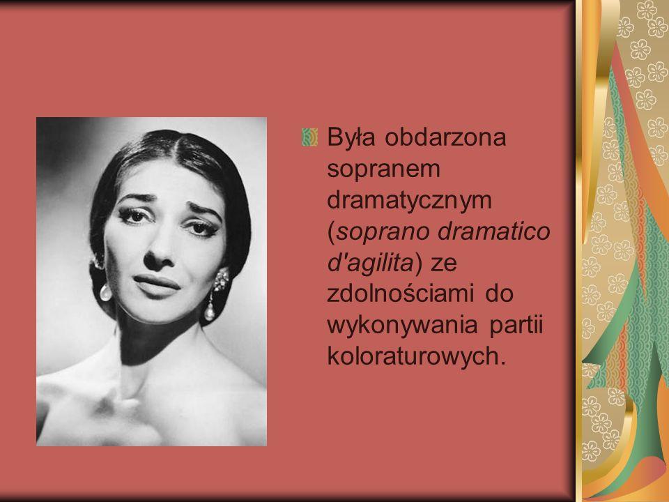 Była obdarzona sopranem dramatycznym (soprano dramatico d'agilita) ze zdolnościami do wykonywania partii koloraturowych.