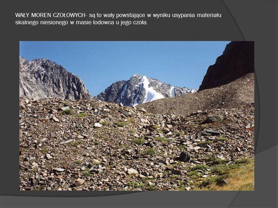 WAŁY MOREN CZOŁOWYCH- są to wały powstające w wyniku usypania materiału skalnego niesionego w masie lodowca u jego czoła.