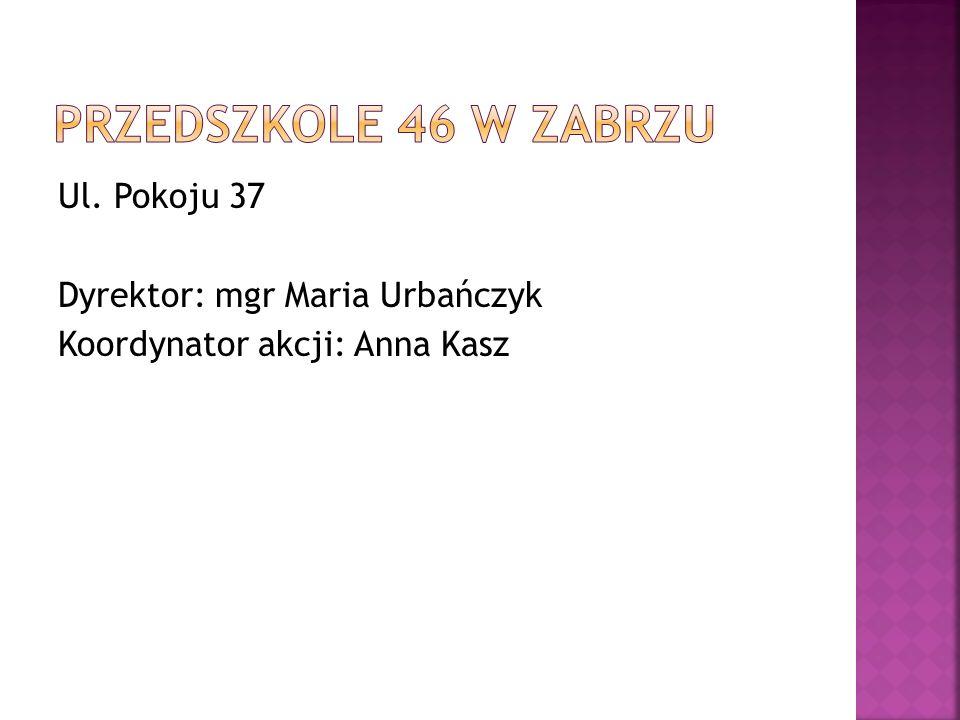 Ul. Pokoju 37 Dyrektor: mgr Maria Urbańczyk Koordynator akcji: Anna Kasz