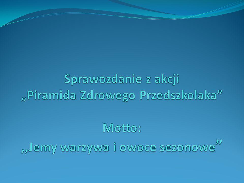 Przedszkole nr 38 w Bielsku – Białej przystąpiło do akcji Piramidy Żywienia Przedszkolaka, której hasłem przewodnim było: Jemy warzywa i owoce sezonowe.