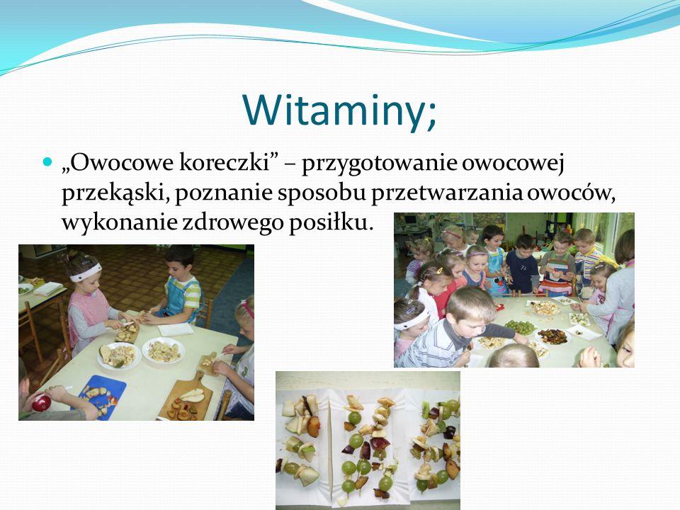 Witaminy; Owocowe koreczki – przygotowanie owocowej przekąski, poznanie sposobu przetwarzania owoców, wykonanie zdrowego posiłku.