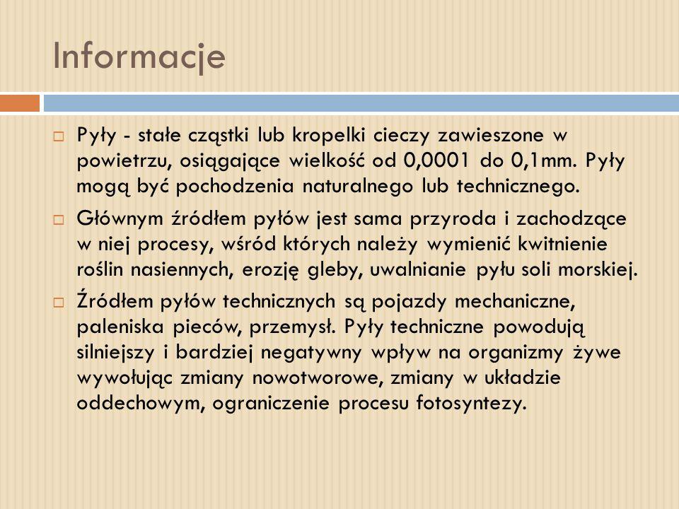 Informacje Pyły - stałe cząstki lub kropelki cieczy zawieszone w powietrzu, osiągające wielkość od 0,0001 do 0,1mm. Pyły mogą być pochodzenia naturaln