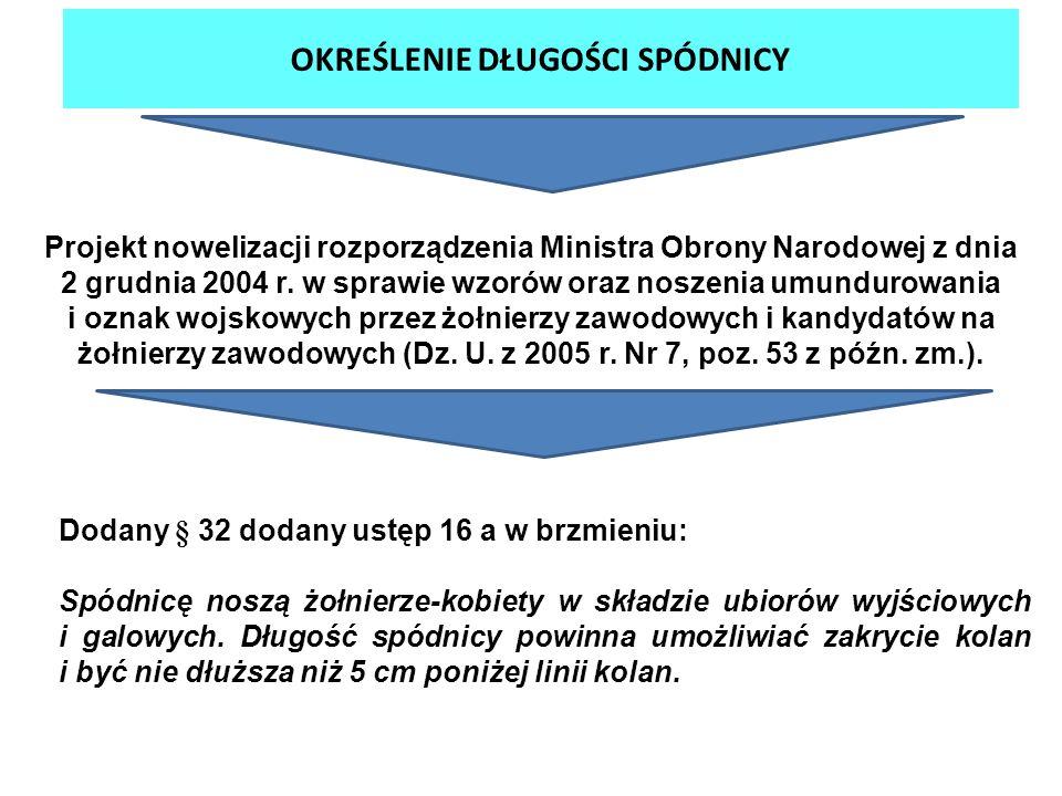 OKREŚLENIE DŁUGOŚCI SPÓDNICY Projekt nowelizacji rozporządzenia Ministra Obrony Narodowej z dnia 2 grudnia 2004 r. w sprawie wzorów oraz noszenia umun
