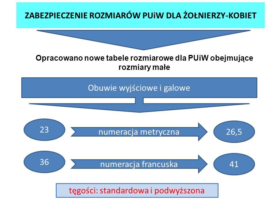 ZABEZPIECZENIE ROZMIARÓW PUiW DLA ŻOŁNIERZY-KOBIET Opracowano nowe tabele rozmiarowe dla PUiW obejmujące rozmiary małe Obuwie wyjściowe i galowe numer