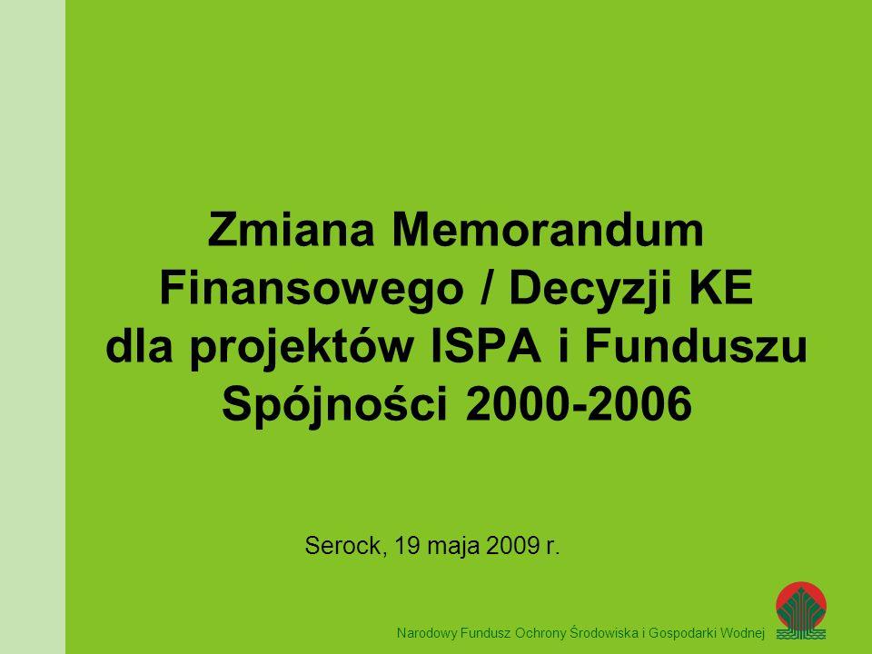 Narodowy Fundusz Ochrony Środowiska i Gospodarki Wodnej UNIA EUROPEJSKA Zmiana Memorandum Finansowego / Decyzji KE dla projektów ISPA i Funduszu Spójności 2000-2006 Serock, 19 maja 2009 r.