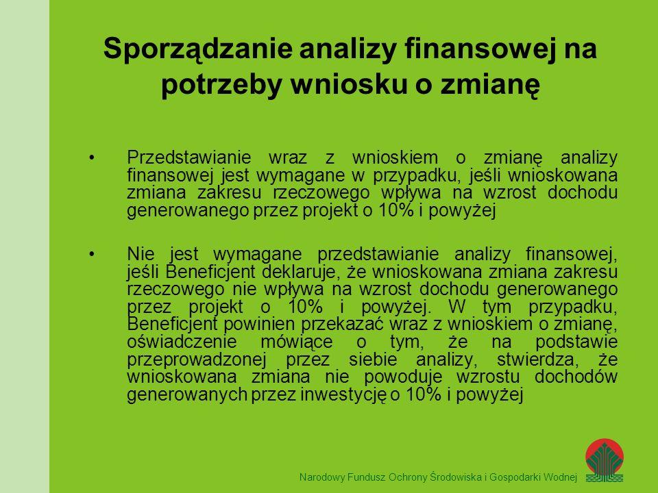 Narodowy Fundusz Ochrony Środowiska i Gospodarki Wodnej UNIA EUROPEJSKA Sporządzanie analizy finansowej na potrzeby wniosku o zmianę Przedstawianie wraz z wnioskiem o zmianę analizy finansowej jest wymagane w przypadku, jeśli wnioskowana zmiana zakresu rzeczowego wpływa na wzrost dochodu generowanego przez projekt o 10% i powyżej Nie jest wymagane przedstawianie analizy finansowej, jeśli Beneficjent deklaruje, że wnioskowana zmiana zakresu rzeczowego nie wpływa na wzrost dochodu generowanego przez projekt o 10% i powyżej.