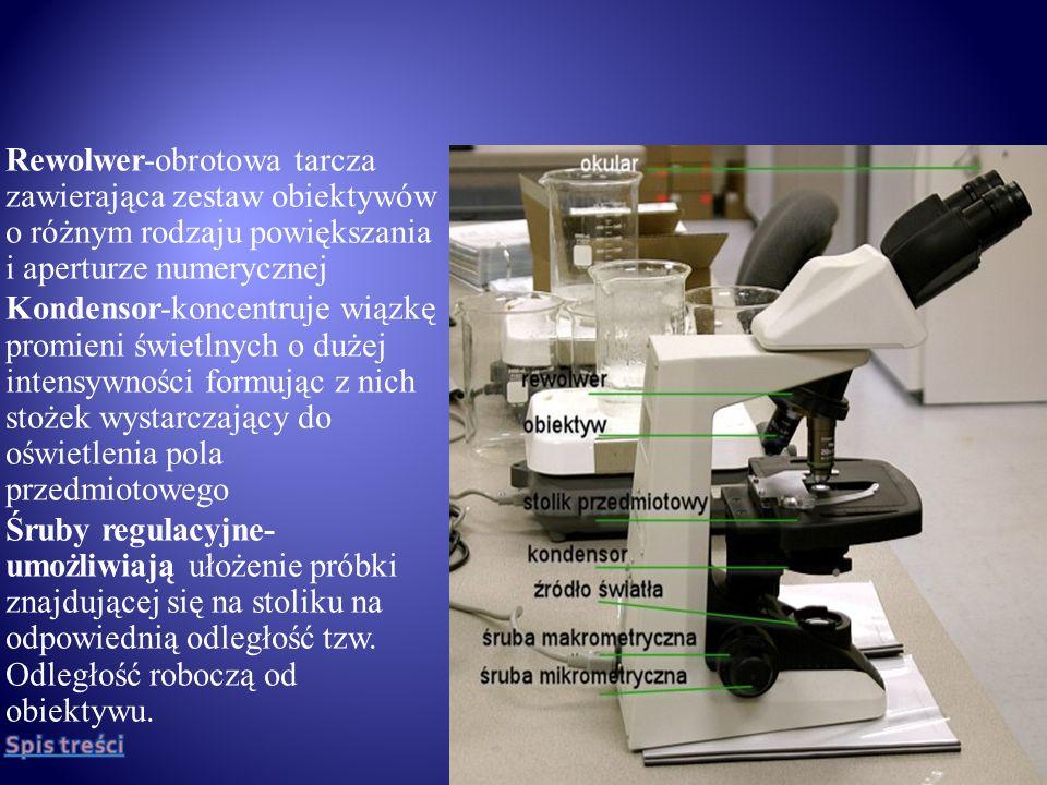 Są to ogólne zasady użytkowania i pielęgnacji mikroskopu: 1)Przed rozpoczęciem mikroskopowania mikroskop należy oczyścić ściereczką (uwaga na części optyczne) 2)Za pomocą lusterka wklęsłego skierować światło do mikroskopu.